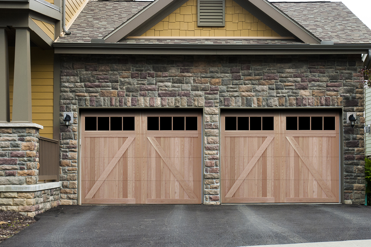 ridge with glass garage door